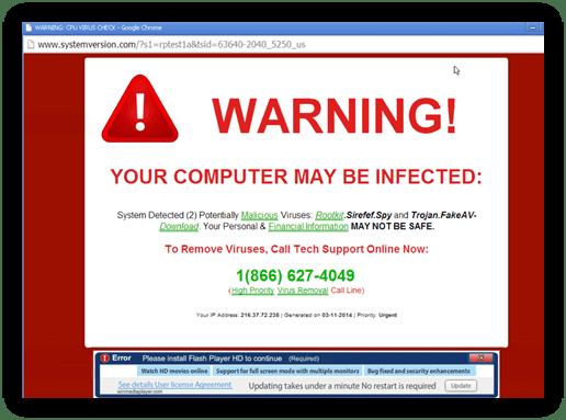 A screenshot of a scareware example from reinforceme.com.