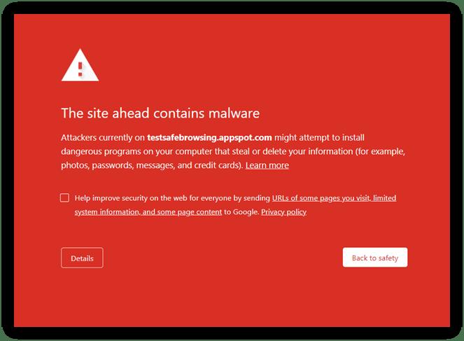"Google URL blacklist screenshot on Chrome warns users that ""The site ahead contains malware"""