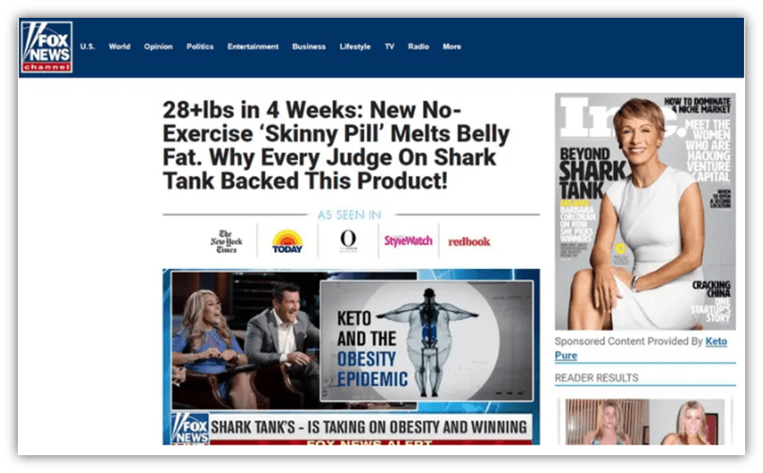 Cybersquatting examples graphic: A screenshot of a fake article on a Fox News website