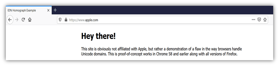 A screenshot of a fake apple website domain that uses punycode. This is a type of cybersquatting.