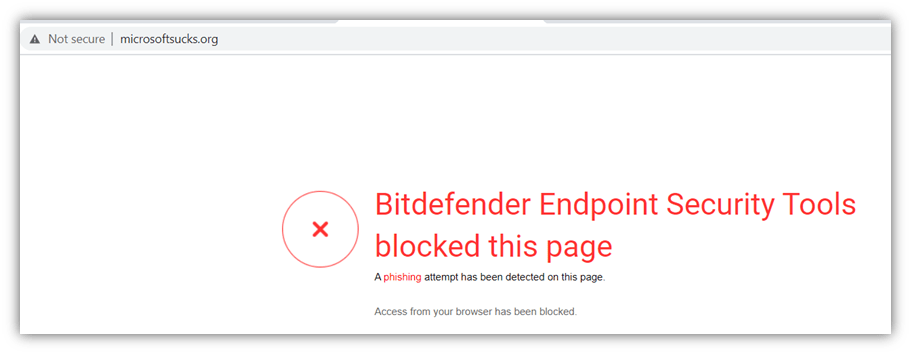 Cybersquatting examples graphic: A screenshot of the Bitdefender warning message that displays on microsoftsucks.org.