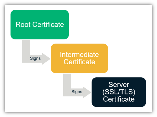 A chain of trust graphic illustrating that the root certificate signs the intermediate, which then signs the server certificate