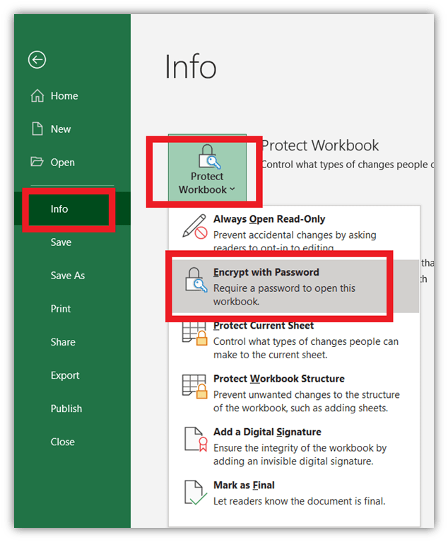 How to prevent being hacked graphic: A screenshot showcasing how to encrypt files in Excel