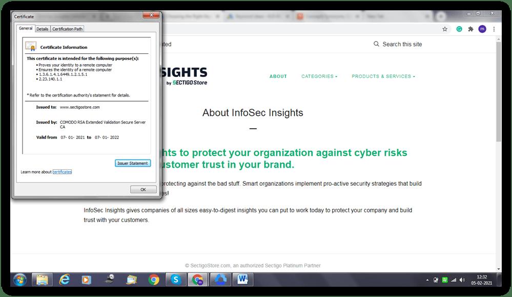 SSL chain of trust graphic: A screenshot of a website's SSL/TLS certificate information