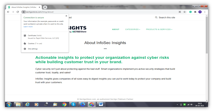 SSL certificate chain graphic: A screenshot of a website's padlock showing organizational information for an SSL/TLS certificate