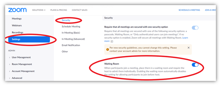 Zoom security settings screenshot of the waiting room feature