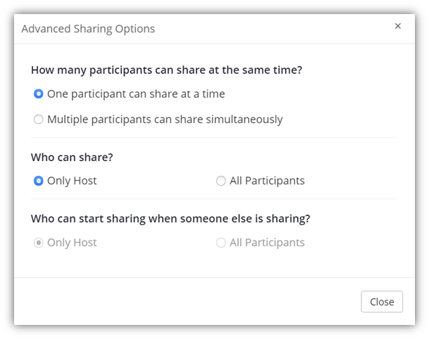 A screenshot of the Zoom security settings window that allows meeting hosts to limit the number of people who can share their screen.
