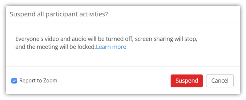 A screenshot of the confirmation window that verifies whether you want to suspend all participant activities in the Zoom security settings for meetings