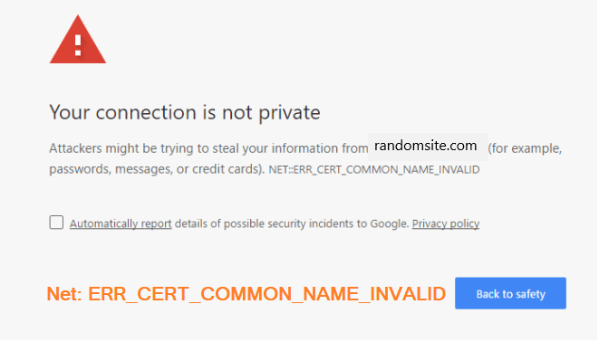 Your Connection is not private in Google chrome