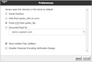 Preference Option in cPanel