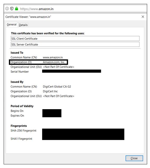 OV SSL certificate example