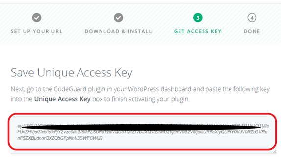 codeguard access key wordpress automatic backup