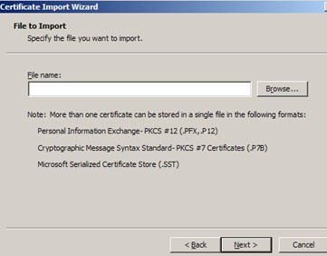 Import Wizard for Certificate