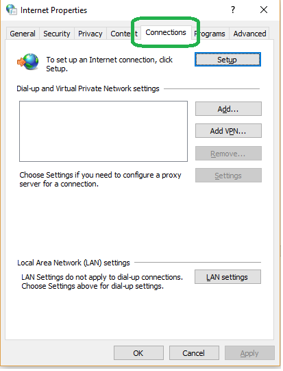 Check Proxy Settings from Internet Properties Settings