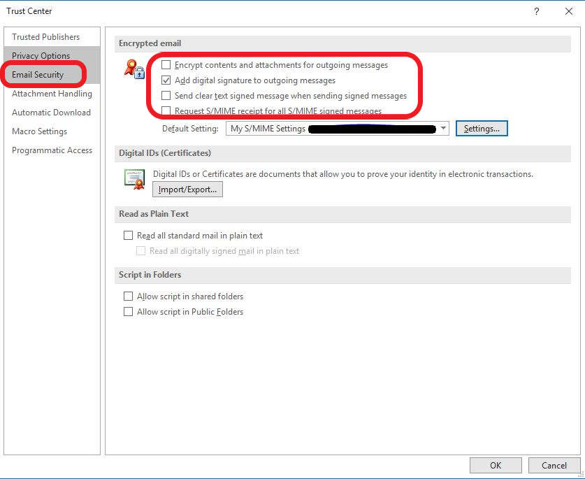 outlook encryption certificate