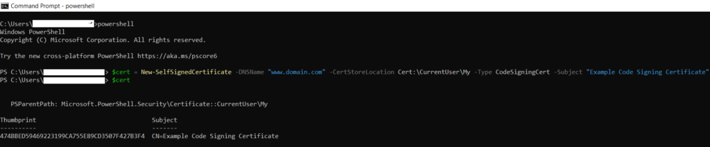 Generating a self-signed certificate