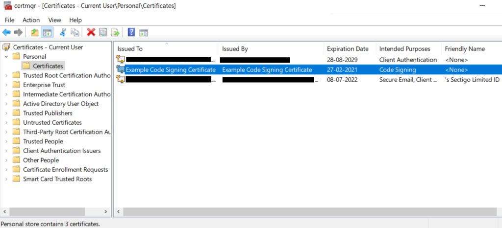 Self-signed certificate manager