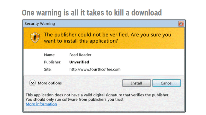 Software publisher certificate warning