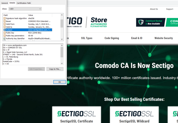 What is an EV SSL certificate - example