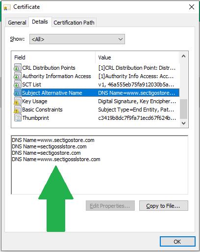 sectigostore certificate details